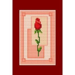 ZU 4689-03 Cross stitch kit - Card - Valentine's day - Rose