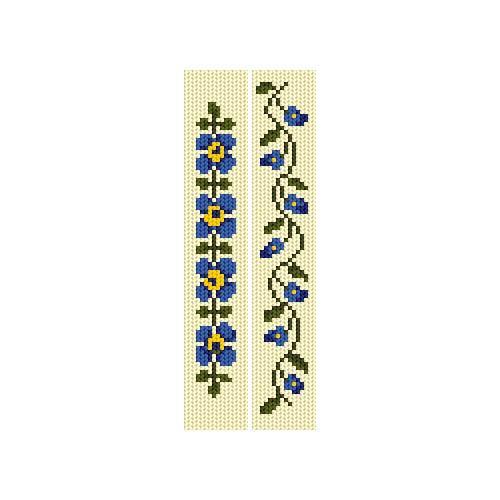 Cross stitch kit - Bookmarks - Blue flowers