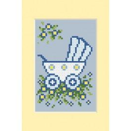 ZU 4458-01 Cross stitch kit - Birth day card - Blue pram