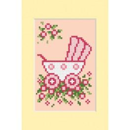 Cross stitch kit - Birth day card - Pink pram