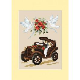 Cross stitch kit - Wedding card - Automobile