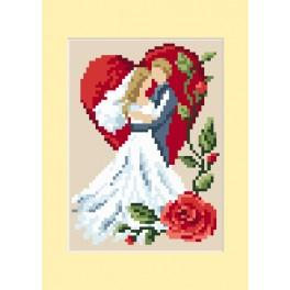 Cross stitch kit - Wedding card - In love