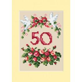 ZU 4460-01 Cross stitch kit - Anniversary card - Roses