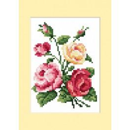 ZU 4460-02 Cross stitch kit - Birthday card - Colourful roses