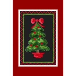 Cross stitch kit - Christmas card - Glowing christmas tree