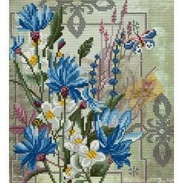 - Cross stitch kit and beads