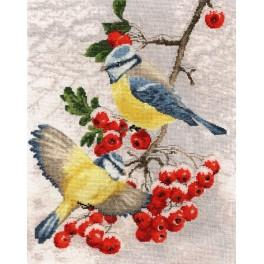 RRS 017 Cross stitch set with beads - Titmouse