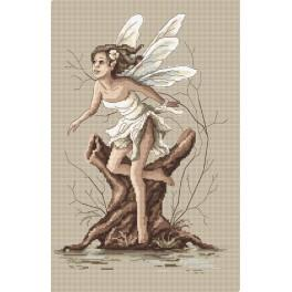 Cross stitch kit with beads - Fairy from forest land