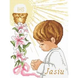 Cross stitch kit with beads - First Holy Communion - boy
