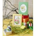 ZI 4356 Cross stitch kit with mouline and beads - Easter postcard - Easter egg with tulips