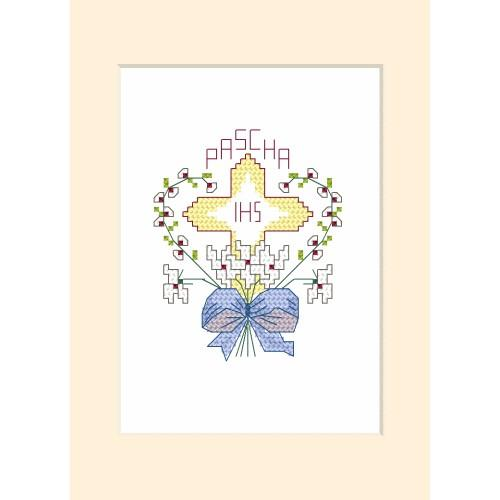 ZI 4357 Cross stitch kit with mouline and beads - Easter postcard - Cross in a heart