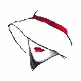 Cross stitch kit with beads - Woman with a hat I