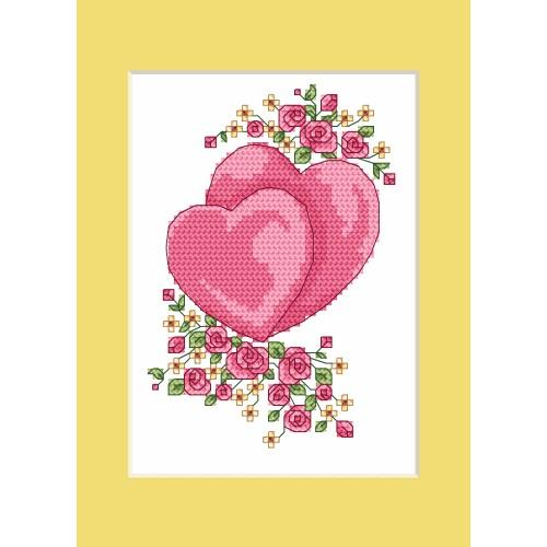 ZI 4984 Cross stitch kit with mouline and beads - Wedding card - Hearts