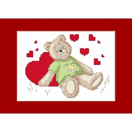 ZI 4987 Cross stitch kit with mouline and beads - Valentine's Day card - Sleeping teddy