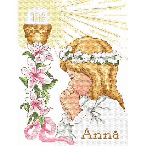 ZI 8395 Cross stitch kit with beads - First Holy Communion - girl