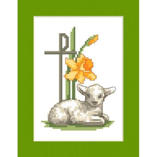 ZI 8397 Cross stitch kit with mouline and beads - Easter card - Easter lamb