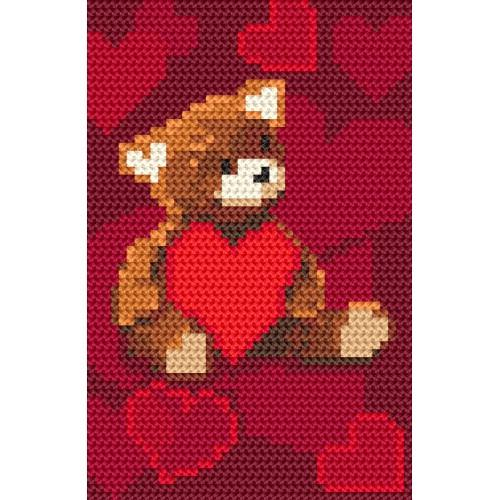 ZI 8406 Cross stitch kit with mouline and beads - Teddy bear with a heart