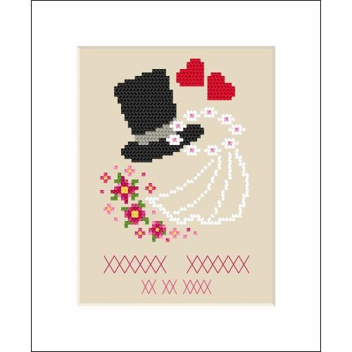 ZI 8557 Cross stitch kit with mouline and beads - Wedding card