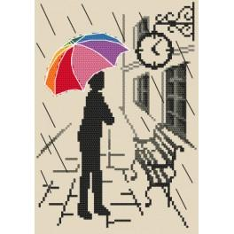 Cross stitch kit with beads - Colorful umbrella - Pending