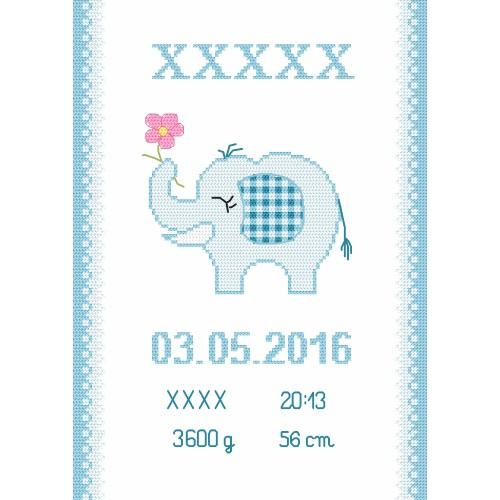 Cross stitch kit with beads - Birth certificate with an elephant