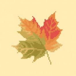 Cross stitch kit with beads - Maple leaf