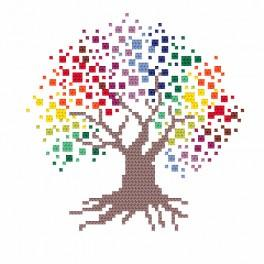 Cross stitch kit with beads - Colourful tree