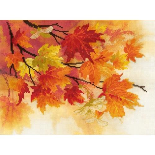 RIO 0054 PT Kit with printed pattern, mouline and printed background - Autumn colours