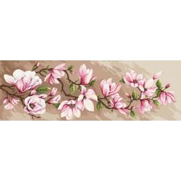 Kit with mouline, beads and printed background - Romantic magnolias