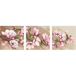 Kit with printed pattern, mouline and printed background - Triptych with magnolias