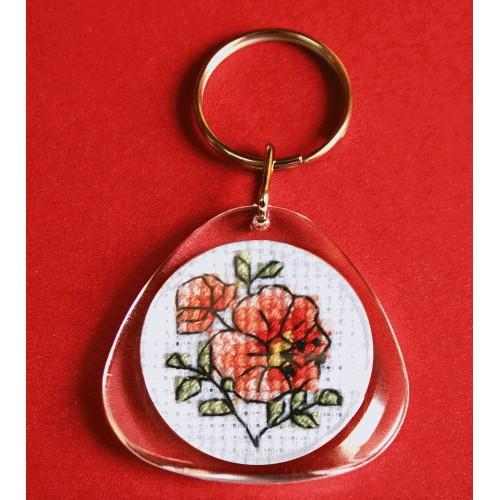 Cross stitch kit - Keyring - Flowers