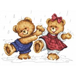 ZN 8392 Kit with tapestry and mouline - Rainy teddy bears