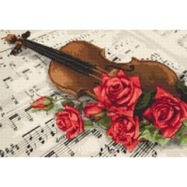 Kit with tapestry and mouline - Violin and roses