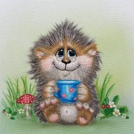 Kit with printed pattern, mouline and printed background - Hedgehog