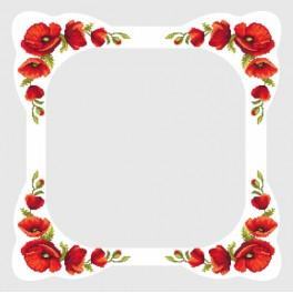 Cross stitch kit with mouline and a cloth - Tablecloth with poppies