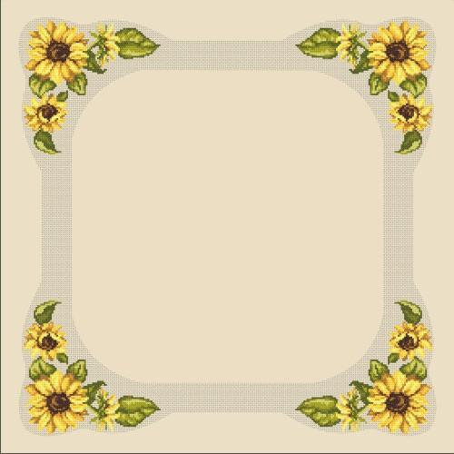 Cross stitch kit - Tablecloth with sunflowers