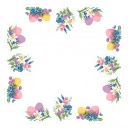 Cross stitch kit with mouline and napkin - Napkin - Spring accents