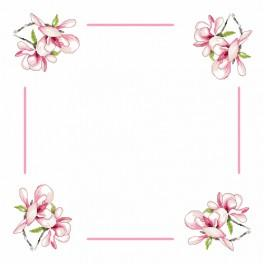 Cross stitch kit with mouline and napkin - Napkin with magnolia