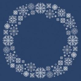 Cross stitch kit with mouline and napkin - Napkin with snowflakes