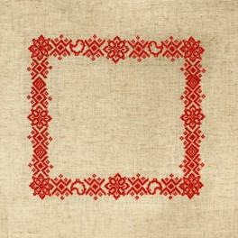 Cross stitch kit with mouline and napkin - Folk napkin I