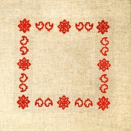 Cross stitch kit with mouline and napkin - Folk napkin II