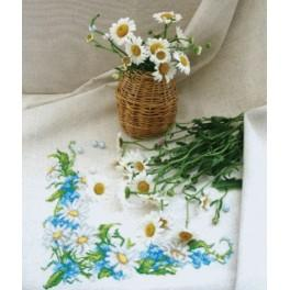 Cross stitch kit - Table dish cloth - Daisies and forget-me-nots