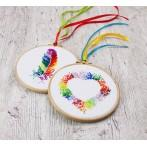 Cross stitch kit - Colourful feather