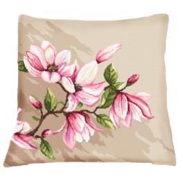 Wzór graficzny - Poduszka z magnoliami - Haft krzyżykowy