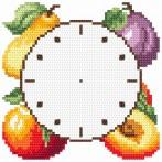 Cross stitch kit with mouline, clock and frame - Clock with fruits
