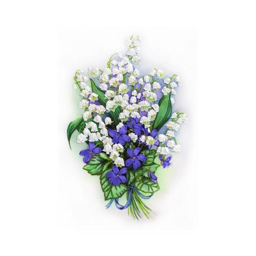 Ribbon set - Bouquet of lily of the valley and violets