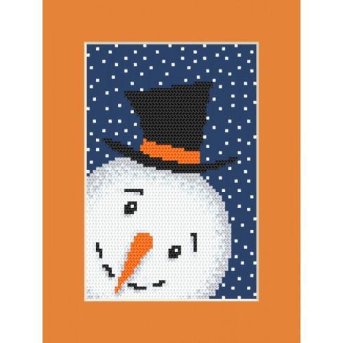 Cross Stitch pattern - Postcard - Playful snowman