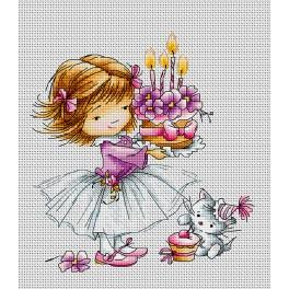 LS B1054 Cross stitch kit - Girl with a kitten and a cake