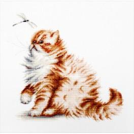 LS B2270 Cross stitch kit - Kitten with a dragonfly