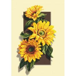 Cross stitch set with beads - Sunflowers 3D