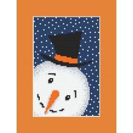 Cross stitch kit with a postcard - Playful snowman